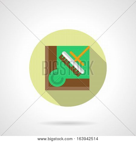 Equipment and accessories for billiards. Brush for cleaning pool table cloth from chalk residue, dust, crumbs. Round flat design vector icon.