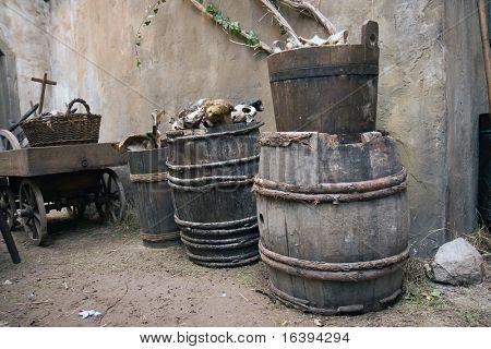 the old barrels with bones