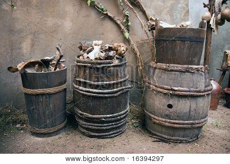 the old bones in a barrel