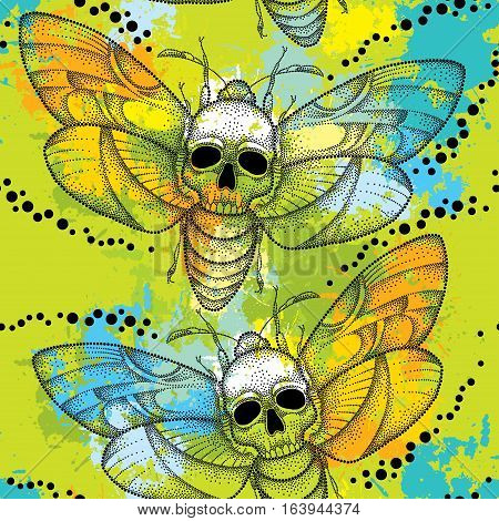 Vector seamless pattern with dotted black Death's head hawk moth or Acherontia atropos on the green background with blots. Background with butterfly and skull in dotwork style.