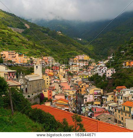 Aerial View Of Riomaggiore, Italy