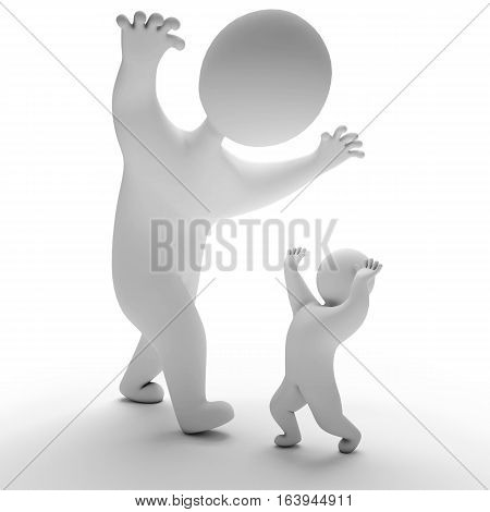 3d render insanity halloween. Isolated on white background