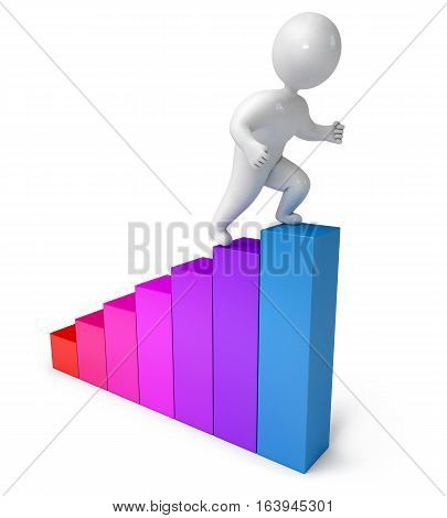 chart climbing people 3d render. Isolated on white background