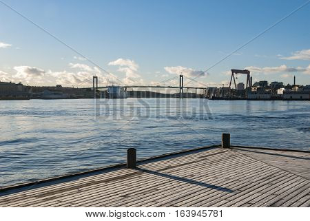 River in winter in Gothenburg in Sweden