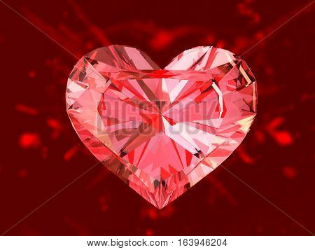 The red ruby heart 3d render. On red background