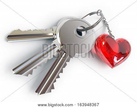 Keys, Heart, Key Ring