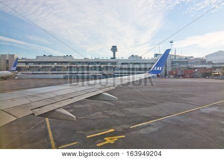 Scandinavian Airlines At Stockholm Arlanda Airport.