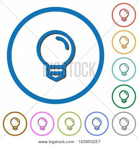 Light bulb flat color vector icons with shadows in round outlines on white background