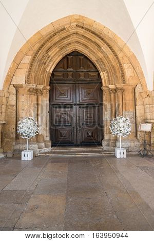 View of the entry arch of the Cathedral of Faro located in Faro Algarve Portugal. The Cathedral of Faro (Se de Faro) is a Roman Catholic cathedral.