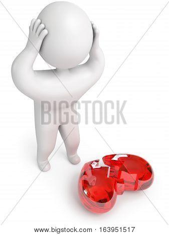 Broken heart 3d render. Isolated on white background
