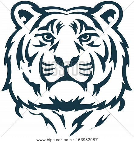 Vector black and white illustration calm face of big tiger. Great for use as logo element icon as a tattoo or symbol of assurance and firmness.