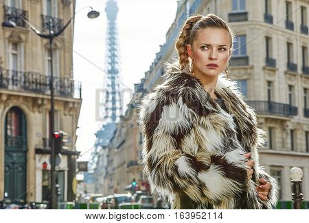 Portrait Of Modern Fashion-monger In Paris, France Looking Aside