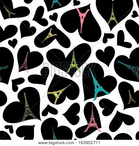 Unique vector Eifel Tower Paris Seamless Repeat Pattern Bursting With St Valentines Day Black Hearts Of Love. Perfect for travel themed postcards, greeting cards, wedding invitations. Surface pattern design.