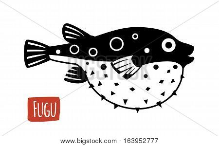 Fugu, black and white vector illustration, cartoon style
