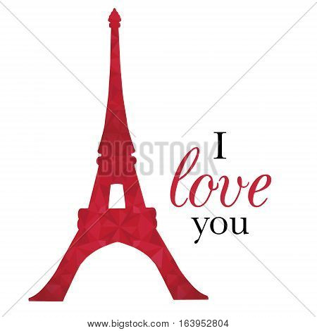 Unique vector Ruby Red Eifel Tower Paris On St Valentines Day Of Love. Perfect for travel themed postcards, greeting cards, wedding invitations. Great for travel themed postcards, greeting cards, wedding invitations, products, bags, accessories, luggage,