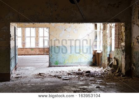 old leave deserted room, ancient casern building