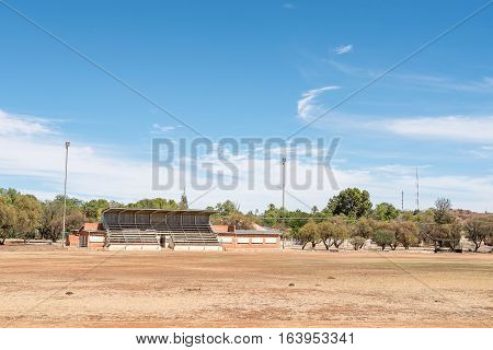 KOFFIEFONTEIN SOUTH AFRICA - DECEMBER 24 2016: The sport stadium in Koffiefontein (coffee fountain) a diamond mining town in the Free State Province