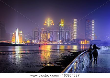 Panoramic view and Beautiful Skyline of Shanghai Pudong China,Asia