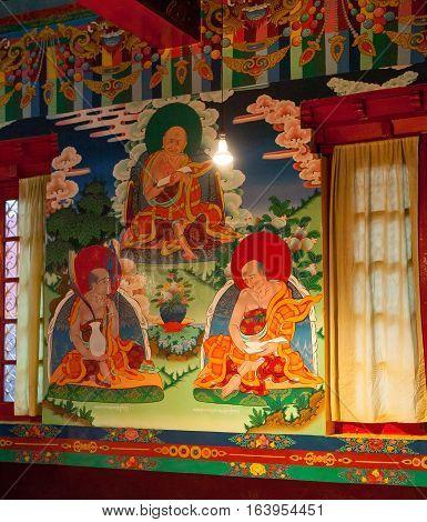 REWALSAR, INDIA. 2 June 2009:   Mural of a Buddhist monastery Tso-Pema Ogyen Heru-kai Nyingmapa Gompa. Rewalsar, district Mandi, Himachal Pradesh, district of Kangra, India.