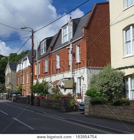 Street in the village of Combe Martin on the north Devon. UK