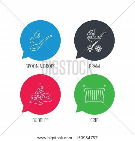 Colored speech bubbles. Pram carriage, spoon and drops icons. Bubbles, crib bed linear signs. Flat web buttons with linear icons. Vector