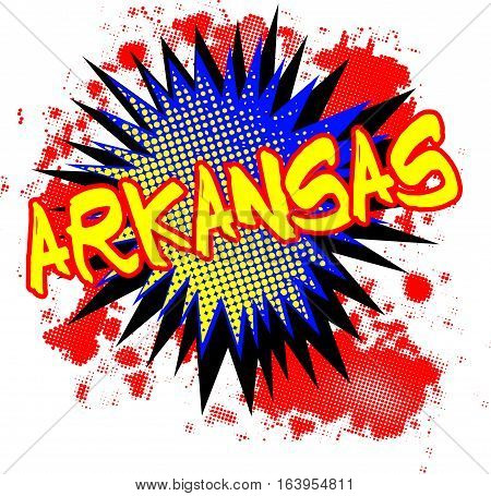 A comic cartoon style Arkansas exclamation explosion over a white background