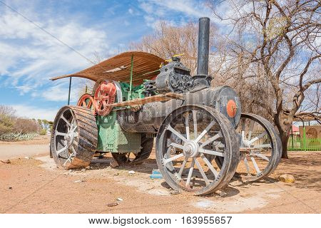KOFFIEFONTEIN SOUTH AFRICA - DECEMBER 24 2016: An historic old steam tractor in Koffiefontein a diamond mining town in the Free State Province