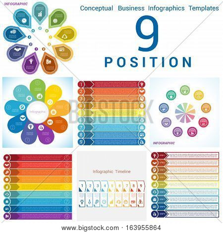 Set Vector templates Infographics business conceptual cyclic processes for nine positions text area possible to use for pie chart workflow banner diagram web design timeline area chart