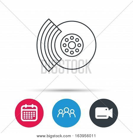 Brakes icon. Auto disk repair sign. Group of people, video cam and calendar icons. Vector