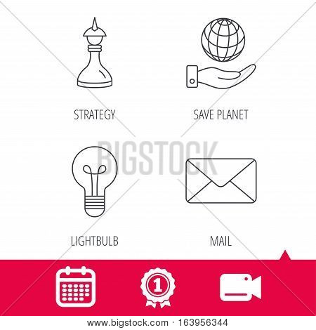 Achievement and video cam signs. Strategy, save planet and mail envelope icons. Lamp lightbulb linear sign. Calendar icon. Vector