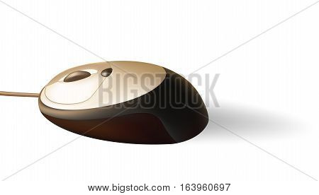 Brown PC mouse with brilliant surface and shadow.