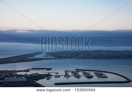 Fog covering the Jurassic Coast in Dorset taken from the Isle of Portland