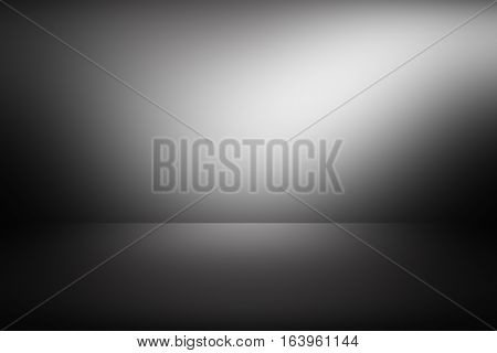 3D illustration, grey gradient background. gradient flat wall and floor in empty spacious room. gray empty room studio gradient used for background and display your product
