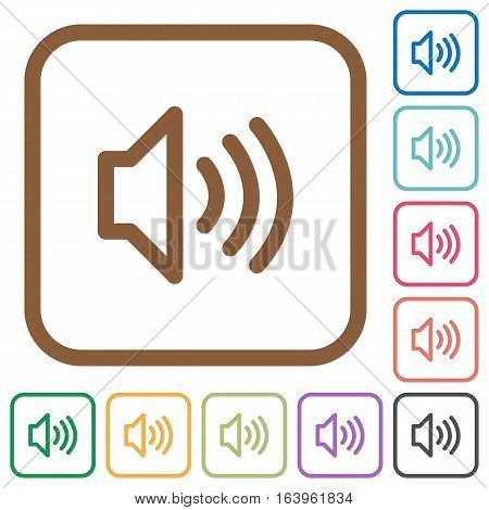 Volume simple icons in color rounded square frames on white background