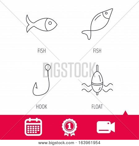 Achievement and video cam signs. Fishing hook and float icons. Fish linear sign. Calendar icon. Vector