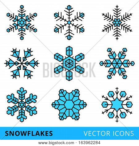 set of vector line snowflakes, isolated on a white background - stock vector