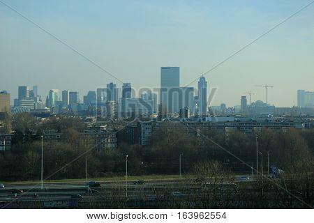 Skyline of the city of Rotterdam the Netherlands