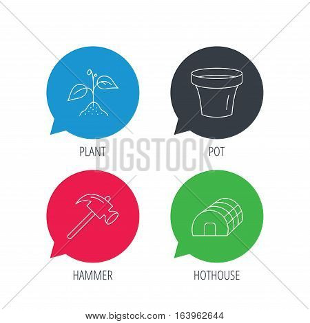 Colored speech bubbles. Sprout plant, hammer and pot icons. Hothouse linear sign. Flat web buttons with linear icons. Vector