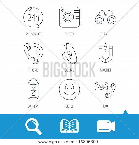 Phone call, battery and faq speech bubble icons. 24h service, photo camera and sound linear signs. Smile and search icons. Video cam, book and magnifier search icons. Vector