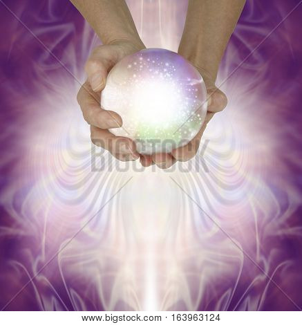 Let me read your fate and fortune in the crystal ball - Female fortune teller holding a large sparkling crystal ball in cupped hands against a magenta patterned background with copy space beneath