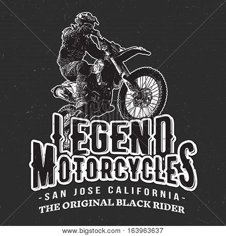 Legend Motorcycles Vintage Racers T-Shirt Design. Easy to manipulate, re-size or colorize.