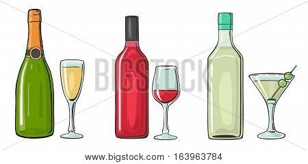 Bottle and glass cocktail liquor wine champagne. Vector color flat illustration for label poster invitation to party. Isolated on white background