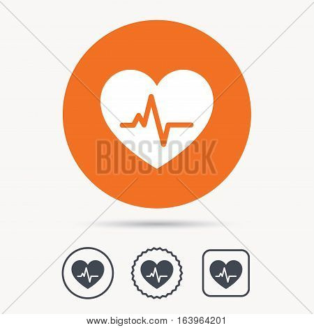 Heartbeat icon. Cardiology symbol. Medical pressure sign. Orange circle button with web icon. Star and square design. Vector