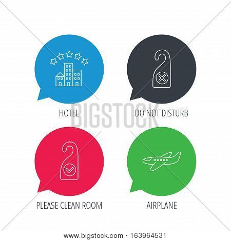 Colored speech bubbles. Hotel, airplane and do not disturb icons. Clean room linear sign. Flat web buttons with linear icons. Vector