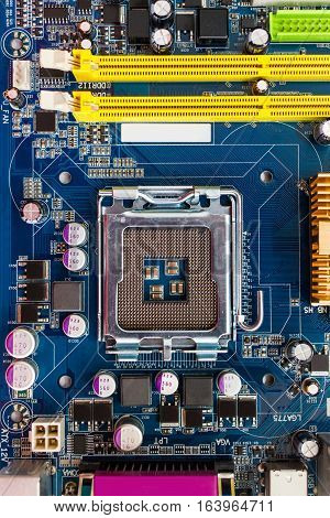 close view at empty processor socket on computer motherboard