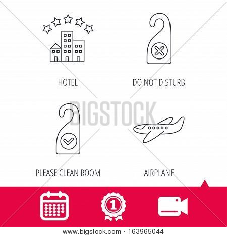 Achievement and video cam signs. Hotel, airplane and clean room icons. Do not disturb linear sign. Calendar icon. Vector