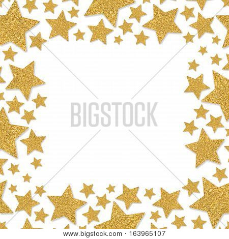 Frame with shimmer stars. Gold sparkle frame of stars. Yellow confetti. Glitter shining powder