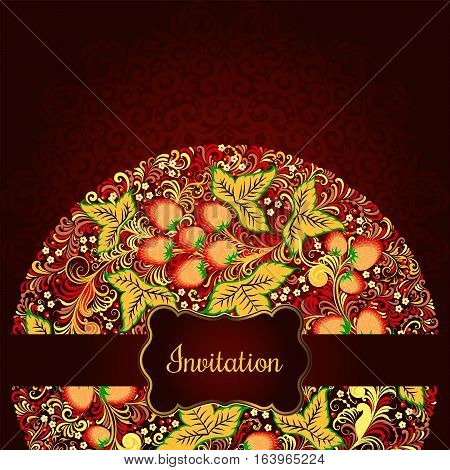 Decorative Card With Elements Of Traditional Russian National Painting In Khokhloma Style - Flowers,