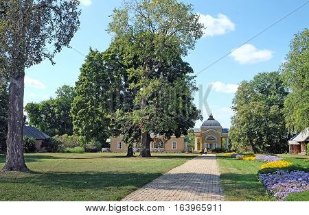 TARKHANI RUSSIA - AUGUST 28 2016: General view of the Lermontov Manor. State Lermontov Museum-Reserve Tarkhany