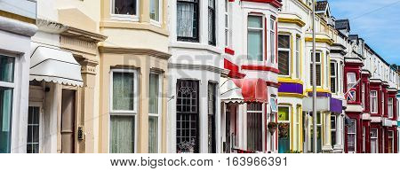 A row of traditional English terraced houses (HDR)